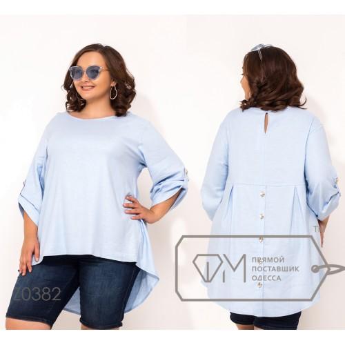 Рубашка из ткани-муслин с круглым вырезом рукавами 7/8 на патиках и асимметричном подолом Z0382