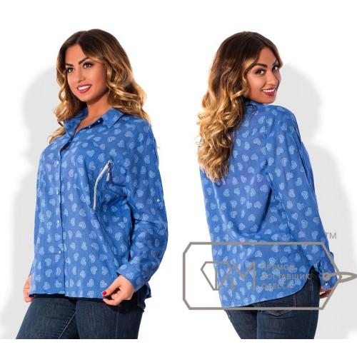 Рубашка свободная из батиста с рукавами на патиках и нагрудными карманами на молниях X5099