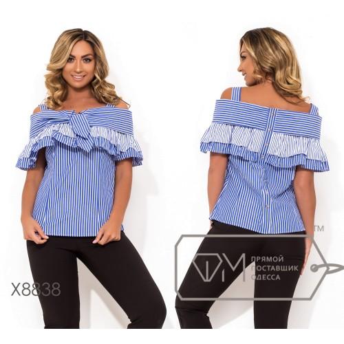 Блуза из коттона на широких беретлях с двусторонней оборкой-перелиной завязкой на груди и декокативными пуговками вдоль спины X8838
