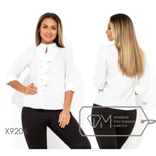 Классическая блуза-жабо из софта с рукавами 3/4 воротником-стойка на застежке и вырезом-капелька на груди X9206
