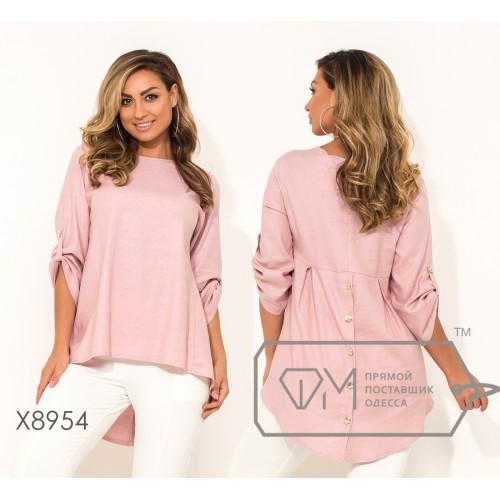Рубашка из ткани-муслин с круглым вырезом рукавами 7/8 на патиках и асимметричном подолом X8954