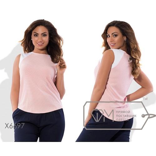 Блузка-фрак прямая из жатого трикотажа и отделкой из льна без рукавов с ювелирным вырезом и эмблемой на спинке X6697
