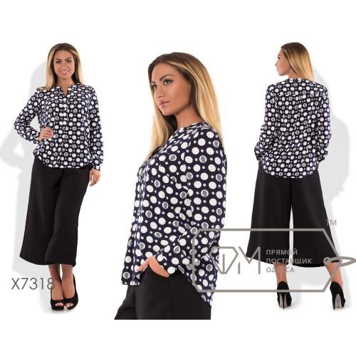 Блузка-поло расклешённая из принтованного бенгалина с застёжкой лифа и длинными рукавами на манжетах X7318