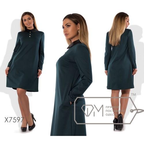 Платье-трапеция мини из франц.трикотажа с длинными рукавами, пуговичками на отрезном лифе и воротничком из экокожи X7597
