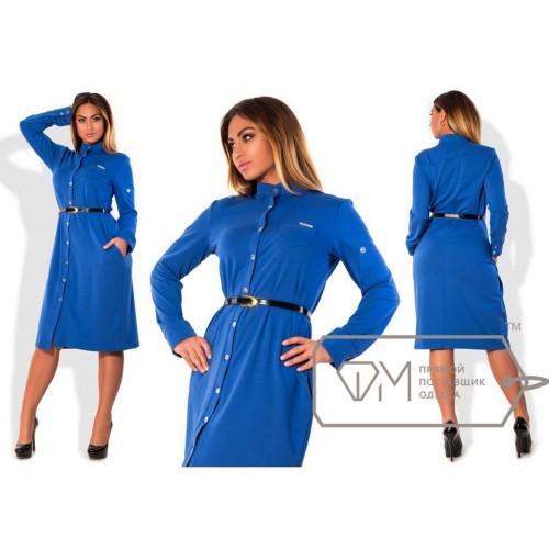 Платье-рубашка миди прямое из двунитки с застёжкой по всей длине, воротничком под горло и пояском X5023