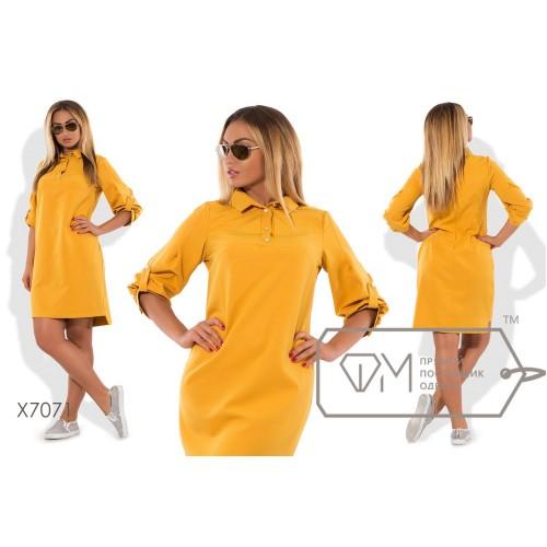 Платье-поло мини прямое из костюмки с разноуровневым подолом и широкими рукавами до локтя на патиках X7071