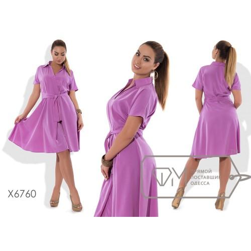 Платье-халат миди А-покроя из штапеля с вискозой на запахе под пояс с короткими рукавами и V-вырезом с воротничком X6760