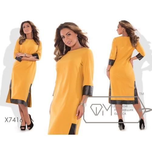 Платье-туника миди прямое из креп-костюмки с рукавами 3/4 и широким кантом экокожи по манжетам, подолу и боковым разрезам X7416