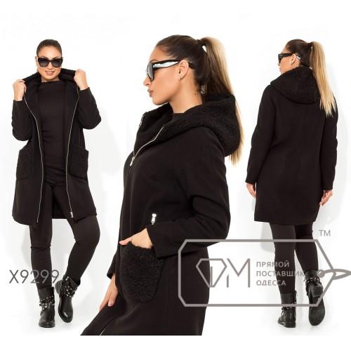 Кашемировое пальто на флисе с капюшоном из эко-каракуля, с вшитыми и накладными карманами X9299