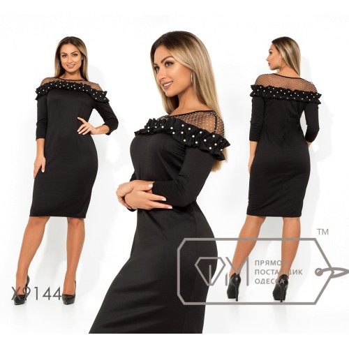 Платье-футляр миди из франц. трикотажа с рукавами 7/8 двустороней сеткой на плечех и оборкой с жемчужинами X9144