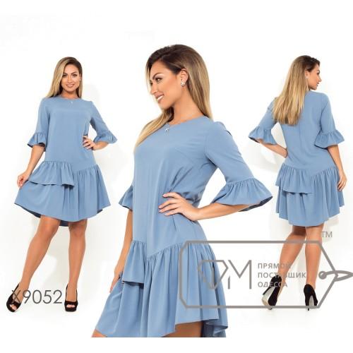 Платье-трапеция мини из костюмки с оборкой на укороченных рукавах и асимметричной юбке X9052