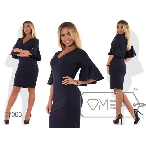 Платье-футляр миди облегающее из креп-дайвинга с глубоким V-вырезом и широкими воланами на рукавах X7083