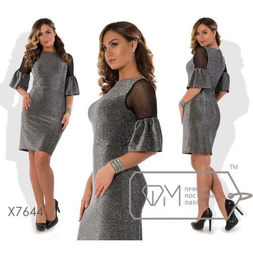 Платье-футляр мини облегающее из люрекса на трикотажной основе с узкими рукавами из сетки на люрексовых оборках X7644