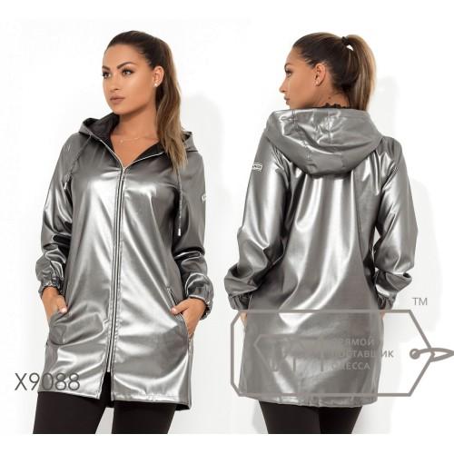 Демисезонная удлиненная куртка из экокожи с капюшоном, прорезными карманами и манжетами на резинке (без подклада) X9088
