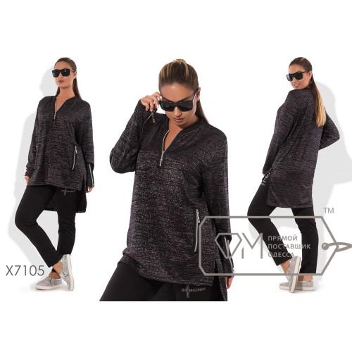 Спорткостюм - прямая туника из блестящего трикотажа с молниями и разноуровневым подолом плюс приталенные штаны из франц.трикотажа X7105