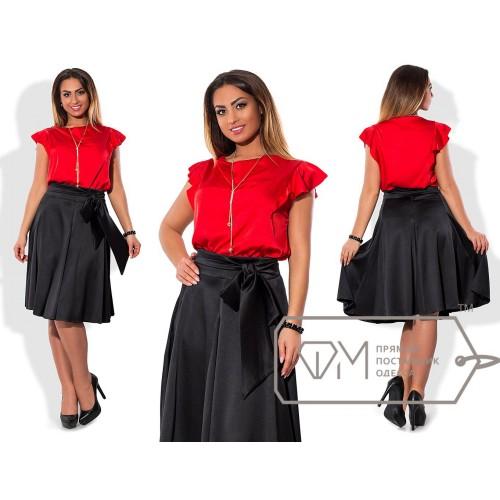 Костюм - прямая блуза из шёлка Армани с украшением и расклешённая юбка миди из атласа на поясе X5556