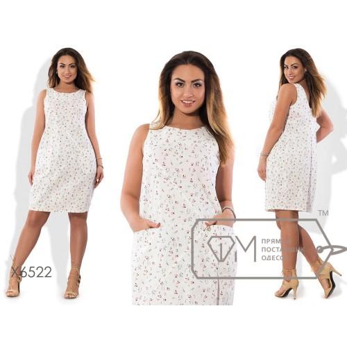 Платье-шифт мини прямое из принтованного льна с горизонтальными карманами и вырезом с декольте X6522