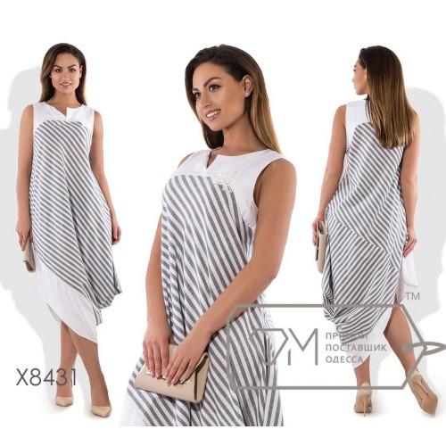 Платье-туника миди прямое диагонального покроя из льна без рукавов с щелевым вырезом и асимметричным подолом X8431