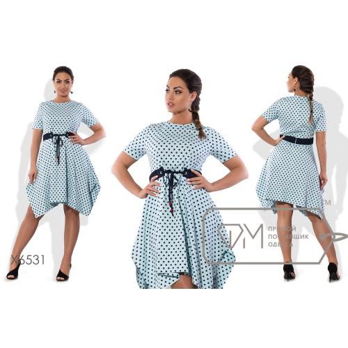 Платье мини приталенное из коттона с разноуровневым драпированным подолом и контрастным поясом-кулиской X6531