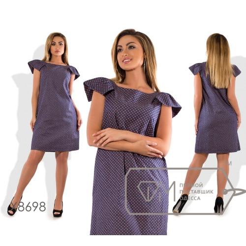 Платье-шифт мини прямое из коттона с короткими рукавами-крылышками X8698