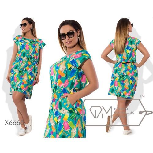 Платье мини прямое из принтованной стрейч-вискозы без рукавов с резинкой на талии и разноуровневым подолом X6668
