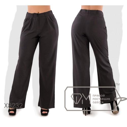 Широкие брюки-хакама из костюмки средней посадки покроя 4 кармана, присобранные к узкому поясу со шлёвками X8232