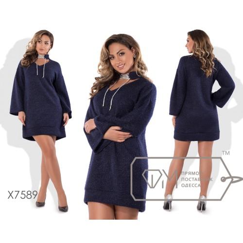 Платье-шифт мини прямое из ангоры вязки с V-вырезом, воротничком-чокером на шнуровке, прямыми рукавами и манжетом по подолу X7589