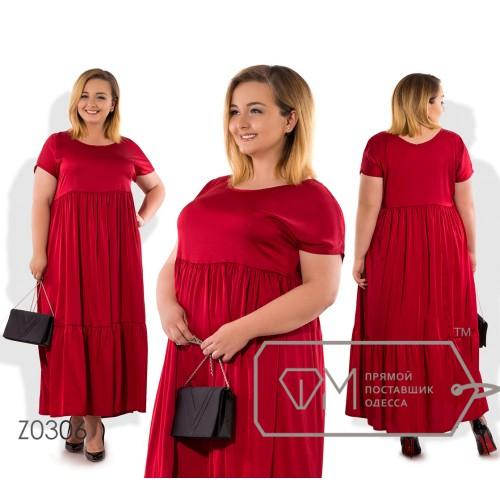 Платье-миди прямого кроя из шелка с ювелирным вырезом коротким рукавом высокой талией присборенной юбкой и широким воланом на подоле Z0306