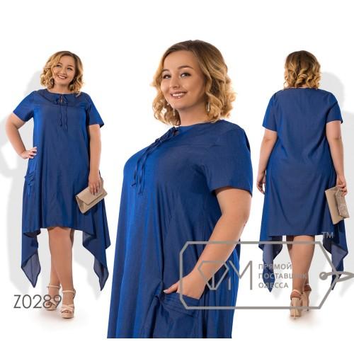 Платье миди из летнего джинса с завязкой на горловине, карманами и асимметричным подолом Z0289