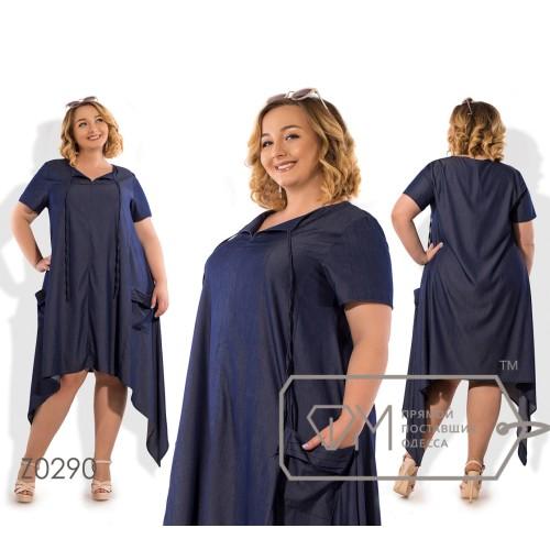 Платье миди из летнего джинса с завязкой на горловине, карманами и асимметричным подолом Z0290