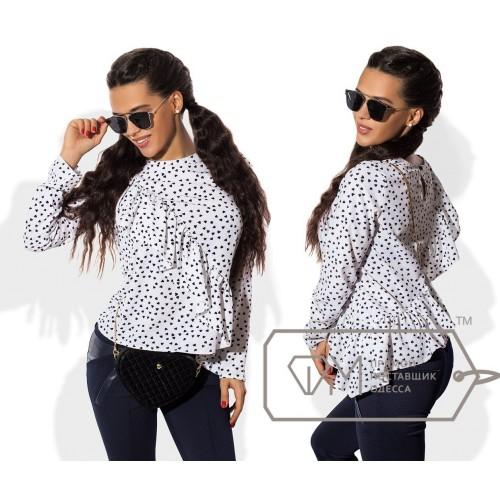 Блузка асимметричная из рубашечной вискозы свободного покроя с косой двусторонней оборкой 8551