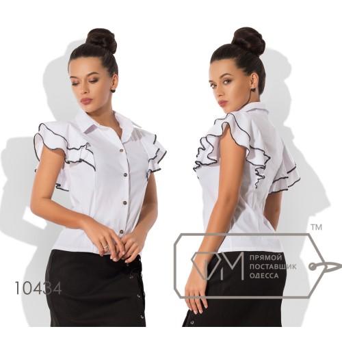 Блуза приталенного кроя из бенгалина с короткими рукавами-крылышками, окаймлёнными контрастным кантом 10434