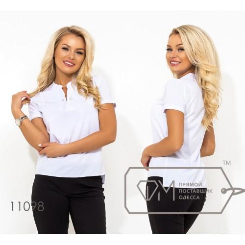 Белая блуза прямого кроя из софта с коротким рукавом V-образным вырезом на груди и съемной брошкой в комплекте (просвечивается) 11098