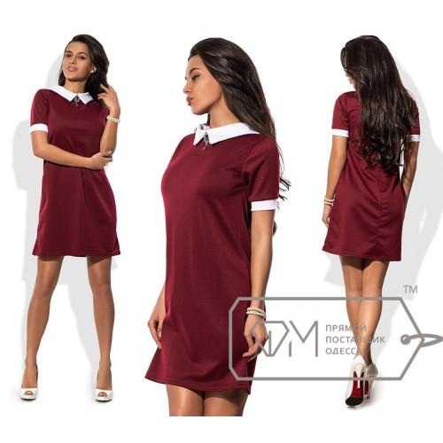 Платье мини прямое из франц. трикотажа с короткими рукавами, белым воротничком, манжетами и брошкой 8439