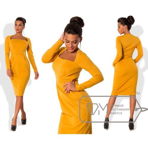 Платье миди приталенное из трикотажа джерси с длинным рукавом, квадратным вырезом и драпировкой 7437