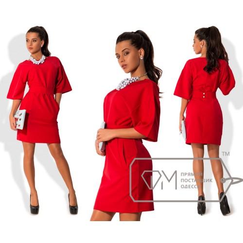 Платье-футляр приталенное из креп-костюмки с рукавами-кимоно и коротким поясом на застёжке 7859