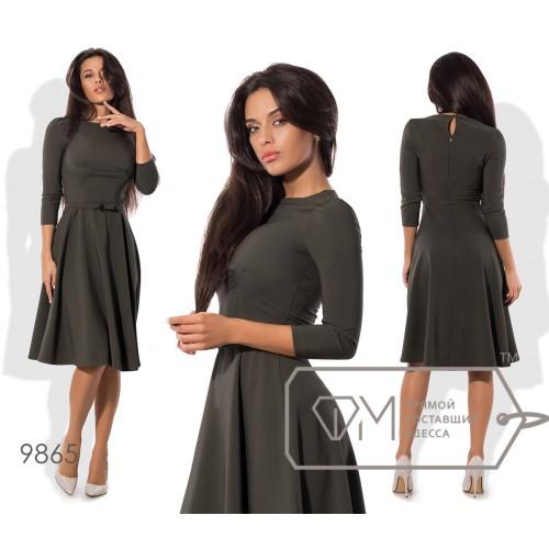 Платье миди А-покроя из плательного крепа с рукавами 3/4, приталенным лифом с защипами и пышной юбкой-солнце на поясе с бантиком 9865