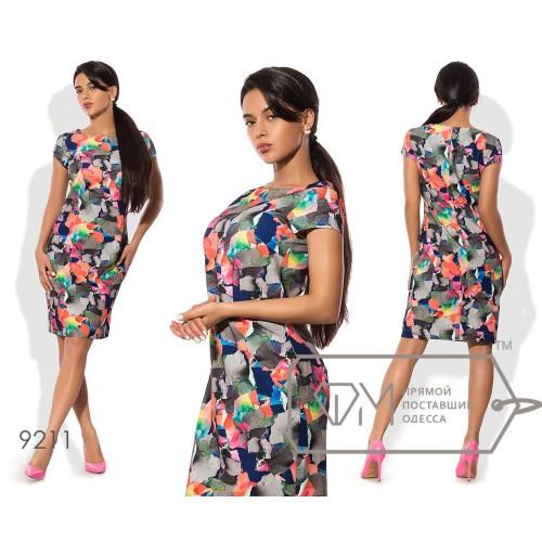 Платье-футляр мини полуприталенное из стрейч-крепа с ювелирным вырезом и короткими рукавами-лепестками 9211