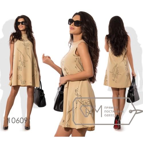 Платье-трапеция мини из плательного крепа без рукавов с вырезом под шею 10609