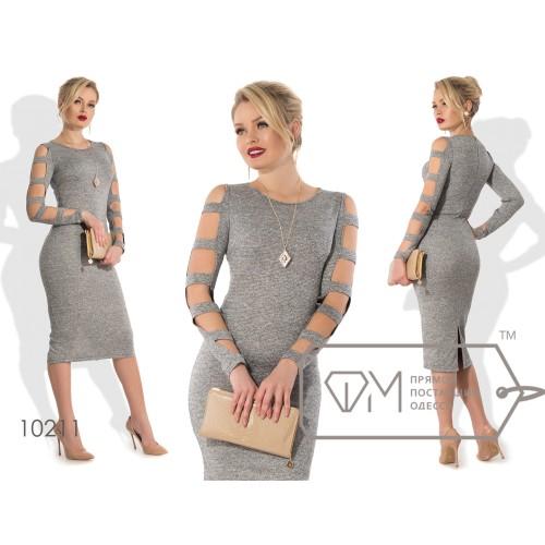 Платье-футляр миди облегающее из трикотажа с люрексом, с разрезом и длинными рукавами на прорезях в античном стиле 10211