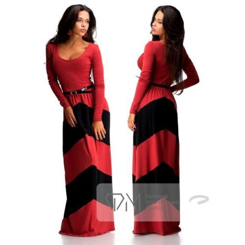Платье макси из трикотажа джерси с вырезом балерина, пышной юбкой и пояском 2877