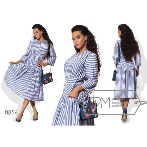 Платье миди А-покроя из коттона с пышной юбкой на кокетке, лифом на молнии, потайными карманами и поясом в комплекте 8856