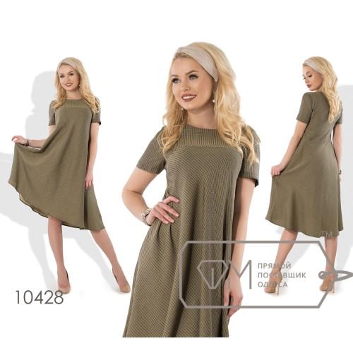Платье-трапеция миди из жаккарда без эластана, расклешённое от груди, с короткими рукавами и асимметричным подолом 10428