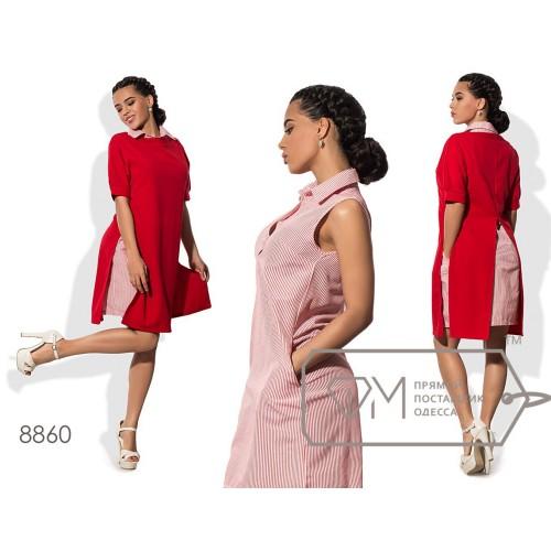 Комплект - платье-рубашка мини прямое из коттона без рукавов с планкой до лифа и накидка-платье из креп-дайвинга с разрезами 8860