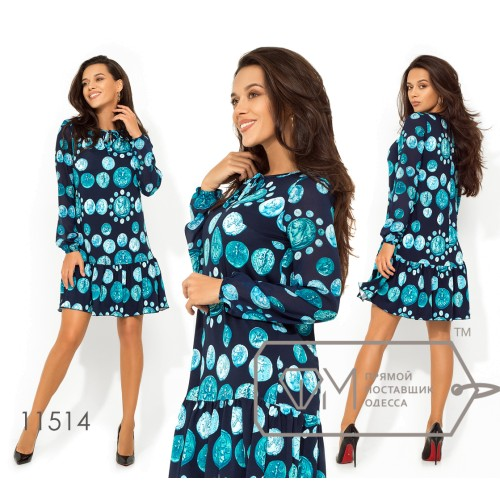 Платье-мини с ярким принтом из ткани микро-масло длинными шифоновыми рукавами-фонарик, горловиной на завязках и присборенной юбкой 11514