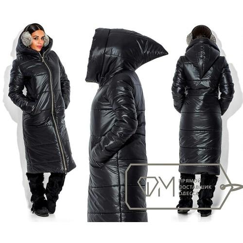 Пальто ниже колена стёганое на двойной молнии из плащёвки на синтепоне с удлинённым капюшоном Цвет чёрный 5716
