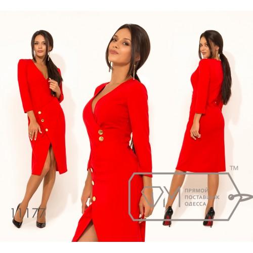 Платье-миди приталенного кроя из креп-дайвинга с V-образным вырезом имитацией запаха и рукавами 3/4 11177