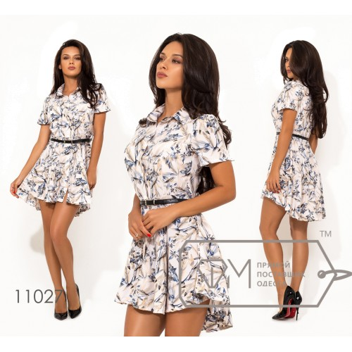 Платье мини из софта с коротким рукавом, на кнопках по всей длине с удлиненной юбкой сзади и контрастным пояском в комплекте 11027