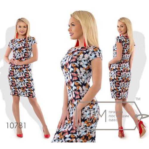 Платье-футляр мини приталенное из стрейч вискозы с рукавами на пол-проймы и круглым вырезом 10781