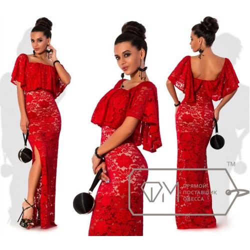 Платье в пол облегающее из гипюра на стрейч подкладе с боковым разрезом и широкой оборкой декольте 6800